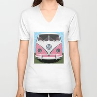 vw bus V-neck T-shirts featuring The Pink  VW Love Bus of Peace  by BruceStanfieldArtist illustrator