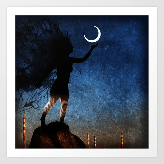 give the moon a little kiss for me Art Print