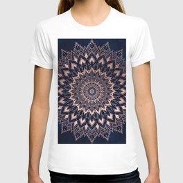 Boho rose gold floral mandala on navy blue watercolor T-shirt