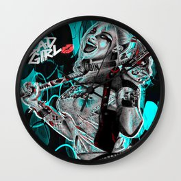 Bad Girl In Turquoise Blue Wall Clock