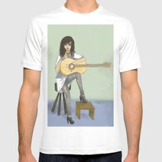 Now If Only I Could Play Guitar MEDIUM Mens Fitted Tee White