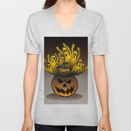 Classic character of ghost and pumpkin Unisex V-Neck