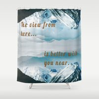 postcard Shower Curtains featuring Mountains Postcard by Darcy Lynn Designs