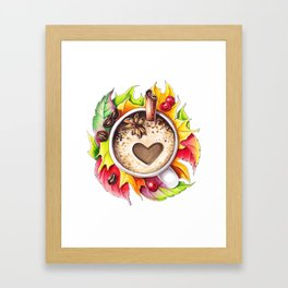 Fall and cup of coffee Framed Art Print