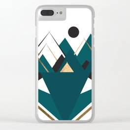 Art Deco Mountain Teepees In Teal Clear iPhone Case