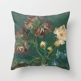 Van Gogh - Small Bottle with Peonies and Blue Delphiniums Throw Pillow