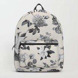 Vintage flowers on cream blackground Backpack