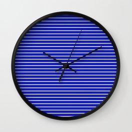 Royal Blue and White Horizontal Stripes Wall Clock