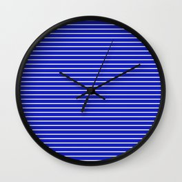 Royal Blue and White Horizontal Stripes Wall Clock