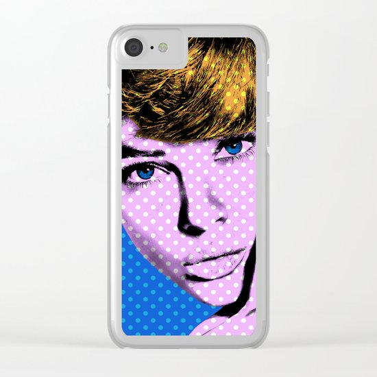 Woman with Blue Eyes 2 Clear iPhone Case