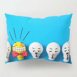 Row of light bulbs with a bright one Pillow Sham