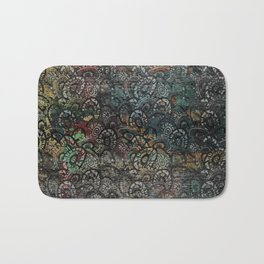 Burned Color  Paisley Pattern on  Wood Bath Mat