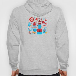 pattern with sea icons on white background. Seamless pattern. Red and blue Hoody