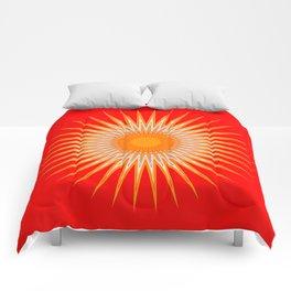 Vibrant Red Sun Mandala Comforters