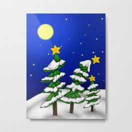 Snowy Trees Christmas Metal Print
