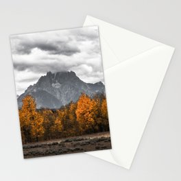 Teton Fall - Autumn Colors and Grand Tetons in Black and White Stationery Cards