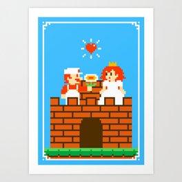 Mario & Peach castle Art Print