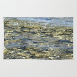 River Rocks - Serene Cool Flowing Water over Beach Stones Rug