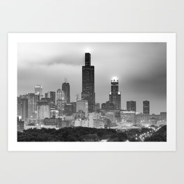 Downtown Chicago Skyline in Black and White Art Print