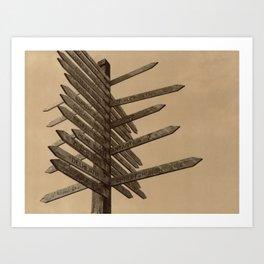 Chocolate Signpost Polaroid Art Print