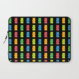 Rainbow Gummy Bears Pattern on Black Background Laptop Sleeve