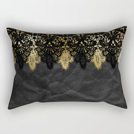 Simply elegance - Gold and black ornamental lace on black paper Rectangular Pillow