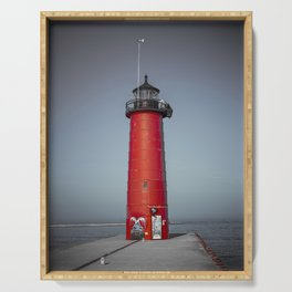 Kenosha Pierhead Light Selective Color Lake Michigan Lighthouse Wisconsin Serving Tray
