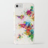 map iPhone & iPod Cases featuring Map of the World Map Paint Splashes by artPause