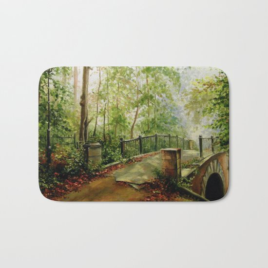 Old bridge in the forest Bath Mat
