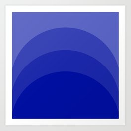 Four Shades of Blue Curved Art Print