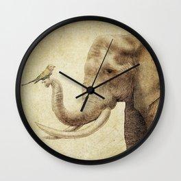 A New Friend (sepia drawing) Wall Clock