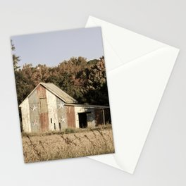 Patriotic Barn in Field Aged Effect Rural / Rustic Landscape Photo Stationery Cards