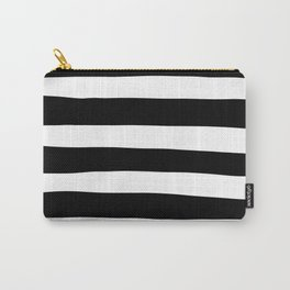 Uneven Stripes - Black and White Carry-All Pouch