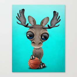 Cute Baby Moose Playing With Basketball Canvas Print