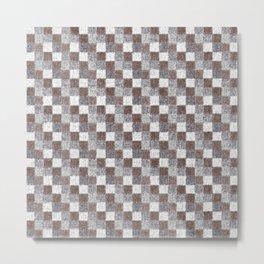 Rustic Brown Gray Beige Patchwork Metal Print