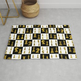 Chessboard and Gold Chess Pieces pattern Rug