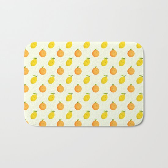 Happy Orange and Lemon Bath Mat