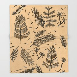 Kraft Paper Pine Throw Blanket