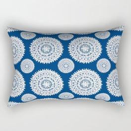 Silver and Navy Mandalas Rectangular Pillow