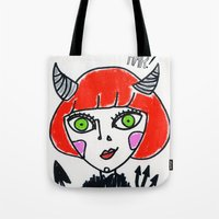 evil Tote Bags featuring Evil by Amy Lee