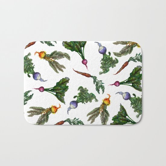 Watercolor Veggies Bath Mat