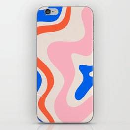 Retro Liquid Swirl Abstract Pattern Square Pink, Orange, and Royal Blue iPhone Skin
