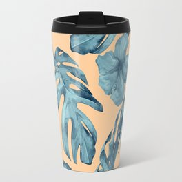 Island Life Hibiscus Palm Apricot Teal Blue Travel Mug
