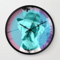 "tomb raider Wall Clocks featuring ""Fridge Raider"" by Ginger Pigg Art & Design"