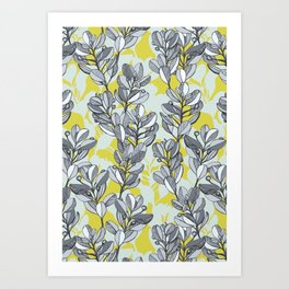Leaf and Berry Sketch Pattern in Mustard and Ash Art Print
