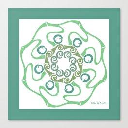 Hope Flower Mandala - Green White Framed Canvas Print