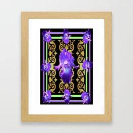 Black-Purple Art Deco Iris Pattern Art design Framed Art Print