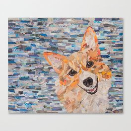 corgi on blue background Canvas Print