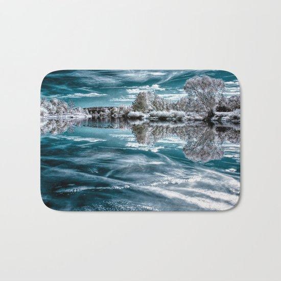 Frosty lake Bath Mat