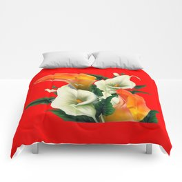 RED & WHITE-ORANGE CALLA LILIES GREY-GOLDEN GARDEN Comforters